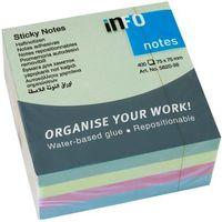 Info Notes Бумага клейкая INFO 75x75мм/4цв., 400 листов, куб пастел