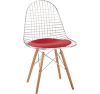cumpără Scaun metalic cu picioare din lemn şi şezut textil roşu, 540x540x560 mm în Chișinău