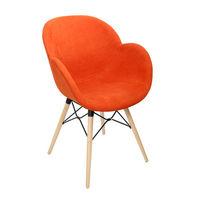 Пластиковый стул с обивкой, деревянные ножки 600x580x840 мм, красный