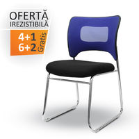 купить Стул для конференций без подлокотника, черный + синий в Кишинёве