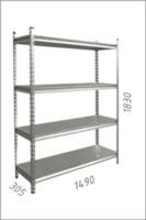 купить Стеллаж металлический с металлической плитой 1490x305x1830 мм, 4 полок/MB в Кишинёве