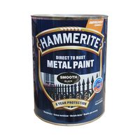 Hammerite Краска для металла Черная гладкая 0.75л