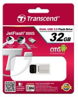 Micro-USB Flash Drive Transcend JetFlash 880 Silver 32Gb