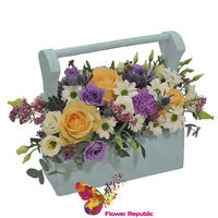 """Цветы в деревянном ящике """"Бирюза"""""""