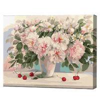 Vază cu bujori și vișine, 40х50 cm, pictură pe numere Articol: GX37016