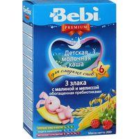 Bebi Premium каша из 3 злаков молочная с малиной и мелиссой, 6+мес. 200г