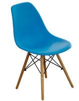 cumpără Scaun din plastic, picioare din lemn cu suport metalic, 500x460x450x820 mm, albastru în Chișinău