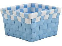 Cos impletit 14X14X9cm albastrtu cu alb, plastic
