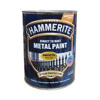 Hammerite Краска для металла Желтая гладкая 0.75л