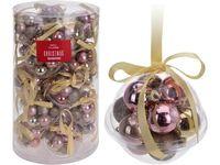 Набор шаров 12X30mm, 3 дизайна, с лентой,жемчуж-розовых