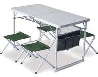 Pinguin Set table + 4 stools Green
