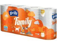 Бумага туалетная GRITE Family 3-сл, 18.75м, 8 рулонов