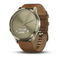 GARMIN Vivomove HR Premium Gold with Light Brown Leather Band