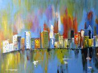 Картина напечатанная на холсте - Абстрактный город 0016 / Печать на холсте