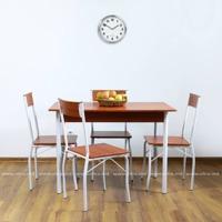 купить Комплект из стола и четырех стульев из метала и MDF, 1100x700xH760 мм, коричневый в Кишинёве