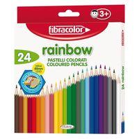 Карандаши цветные Fibracolor Baby Rainbow 24 цветов с точилкой