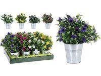 Цветы искусственные большие в ведре метал H25cm, 4 вида