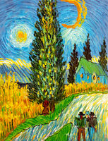 Oil Paintings Road with Cypress and Star (REP12000908)