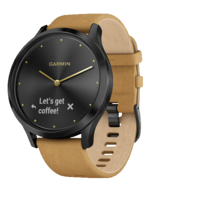 Vivomove Hr Onyx Black With Brown Suede Band Includes Silicone Band