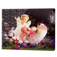 Полевые цветы и ангелочек, 40x50 см, комбо-набор для росписи номеров + алмазная мозаика, YHDGJ74395