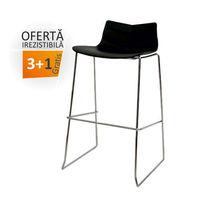 купить Барное сиденье из пластика с хромированными ножками 490x530x940 мм, черный в Кишинёве