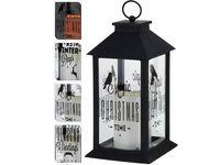 купить Фонарь подвесной черный с мерцающей LED свечой, 28.5X14X14сm в Кишинёве
