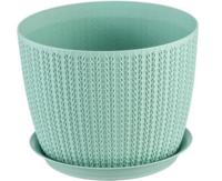 Горшок для цветов пластиковый Idea М3120 Вязание белый, 1.9 л