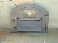 Дверца чугунная со стеклом правая с термометром PIZZA 4Т