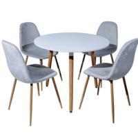 Столовый набор DT E19 белый + 4 стула 6001 серый