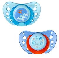 Chicco пустышка силиконовая Physio Air Blue, 6-12мес. 2шт
