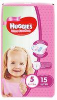 Scutece Huggies Ultra Comfort pentru fetiţă 5 (12-22 kg), 15 buc.