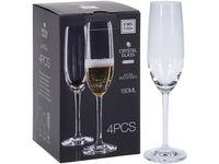 "Набор бокалов для шампанского ""Agio Gold-cut"" 4шт, 180ml"