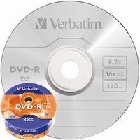 VERBATIM Диск DVD-R VERBATIM 16x/4.7, 25 штук, Spindle mat silver