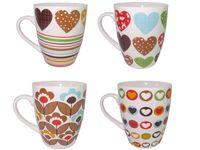купить Чашка керамическая полоски/сердечки/цветы 360ml в Кишинёве