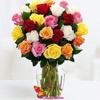 купить Букет из 25 разноцветных  роз в Кишинёве
