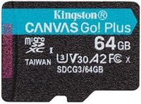 64GB microSD Class10 UHS-I U3 (V30) Kingston Canvas Cangas Go Plus, Ultimate, Read: 170Mb/s, Write: 70Mb/s, Ideal for Android mobile devices, action cams, drones and 4K video production