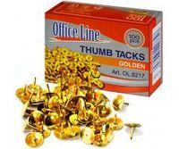 Кнопки OfficeLine, 100 шт, золотистые