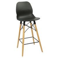 купить Барный стул из пластика, деревянные ножки с металлической опорой 485x470x1065 мм, черный в Кишинёве