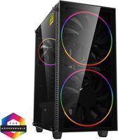 Case ATX GAMEMAX Black Hole, w/o PSU, 2x200mm ARGB fans, PWM hub,Transparent panel, USB3.0, Black