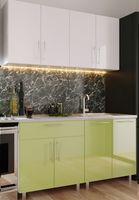 Кухонный гарнитур Bafimob Mini (High Gloss) 1.6m White/Green