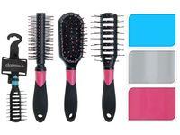 Расческа-щетка для волос в ассортименте, пластик, 4вида