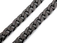 Metal flat curb chain, width 11 mm / black nickel