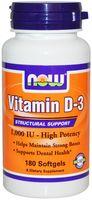 NOW Vitamin D-3, High Potency 1000 IU 180softgels