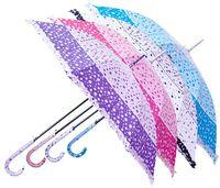 Зонт-трость женский трехцветный с оборкой
