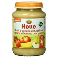 Piure de mere, banane și caise Holle (6 luni+), 190g