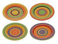 Тарелка керамическая 27сm, с разноцветными полосками