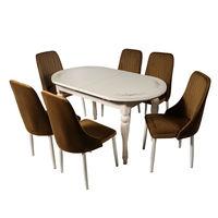 Комплект раздвижных столов DT A14 слоновая кость + 6 стульев DC A 13 капучино