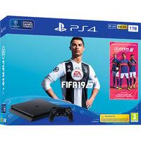 Game Console Sony PlayStation 4 Slim 1TB Black, 2 x Gamepad (Dualshock V2) + CD FIFA 2019