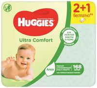 Влажные салфетки Huggies Ultra Comfort Aloe, 3 x 56 шт.