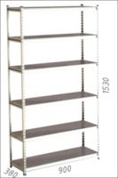 купить Стеллаж металлический Moduline 900x380x1530 мм, 6 полок/0112PE серый в Кишинёве